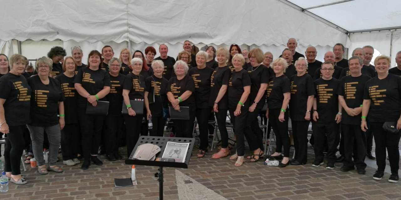 Singing for elderly veterans in wounded soldiers' show