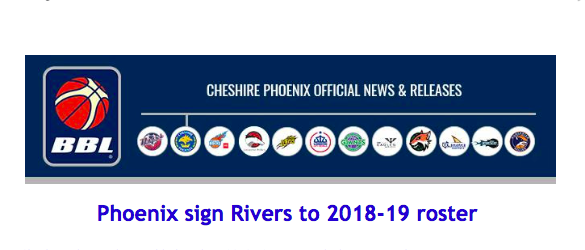 Phoenix sign Rivers to 2018-19 roster