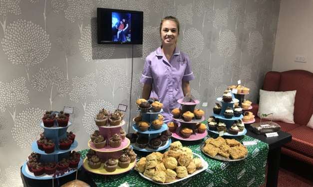 Fundraising for cancer charity at care homes' coffee mornings