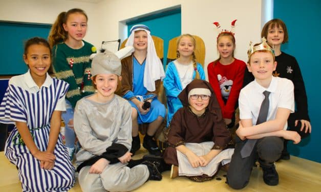 Pupils spell out the meaning of Christmas