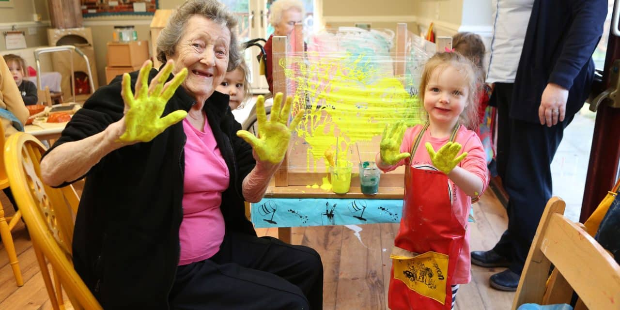 Paints and playdough for intergenerational sensory session
