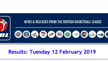 British Basketball League Results: Tuesday 12 February 2019