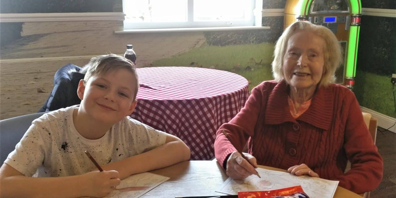Care home art session for school pupils during half term