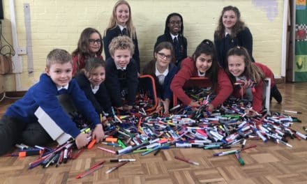 Pupils draw a line under pen waste
