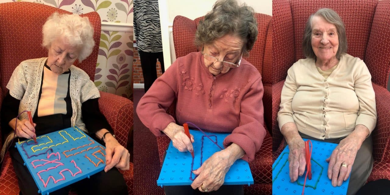 Knitting boards build strength and focus for residents with dementia