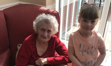 Poppie plays Easter rabbit for residents at Stockton home