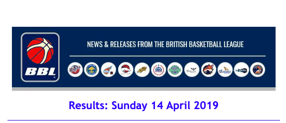 News from British Basketball League Results: Sunday 14 April 2019