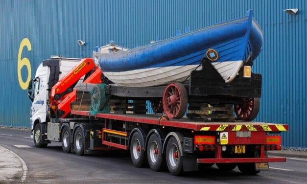 The Bedford lifeboat moves in to restoration yard