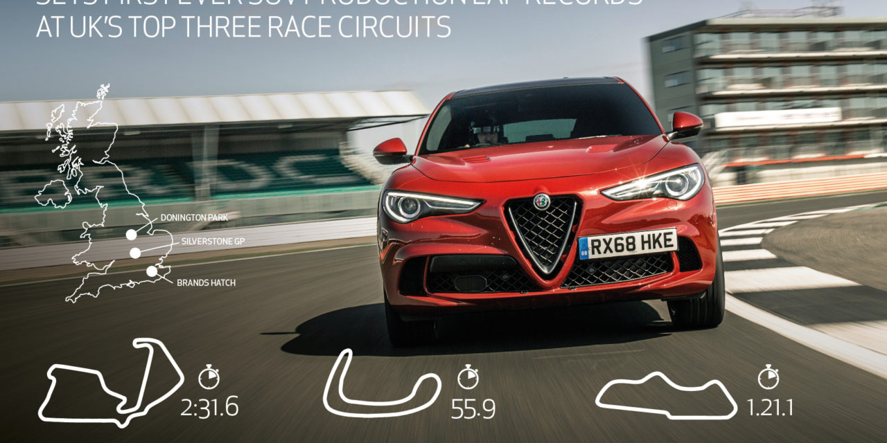 ALFA ROMEO STELVIO QUADRIFOGLIO SETS FIRST EVER SUV PRODUCTION LAP RECORDS AT UK'S TOP THREE RACE CIRCUITS