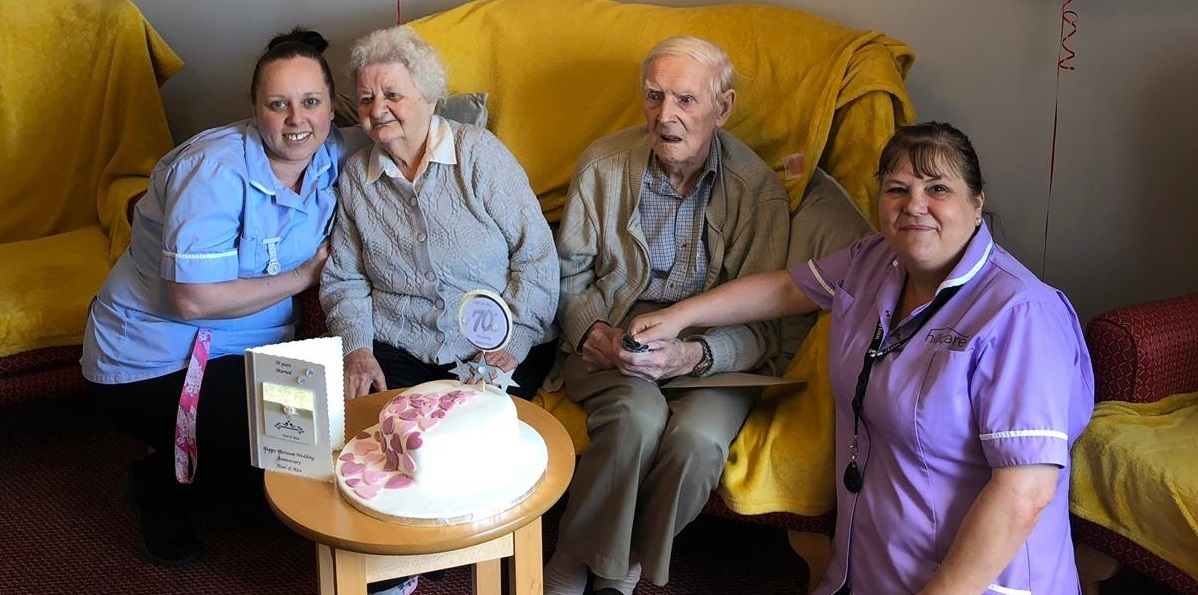 Care home party for platinum wedding anniversary