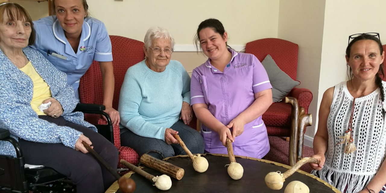 Elderly celebrate the Summer Solstice with drumming session