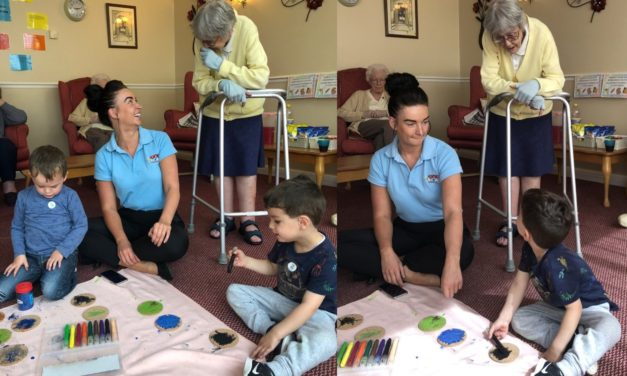 Messy youngsters make coasters for elderly