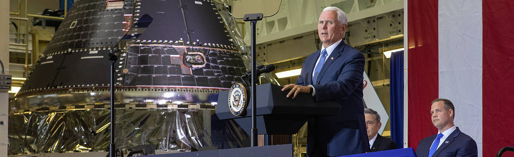 Vice President Unveils NASA Spacecraft for Artemis 1 Lunar Mission on Moon Landing Anniversary