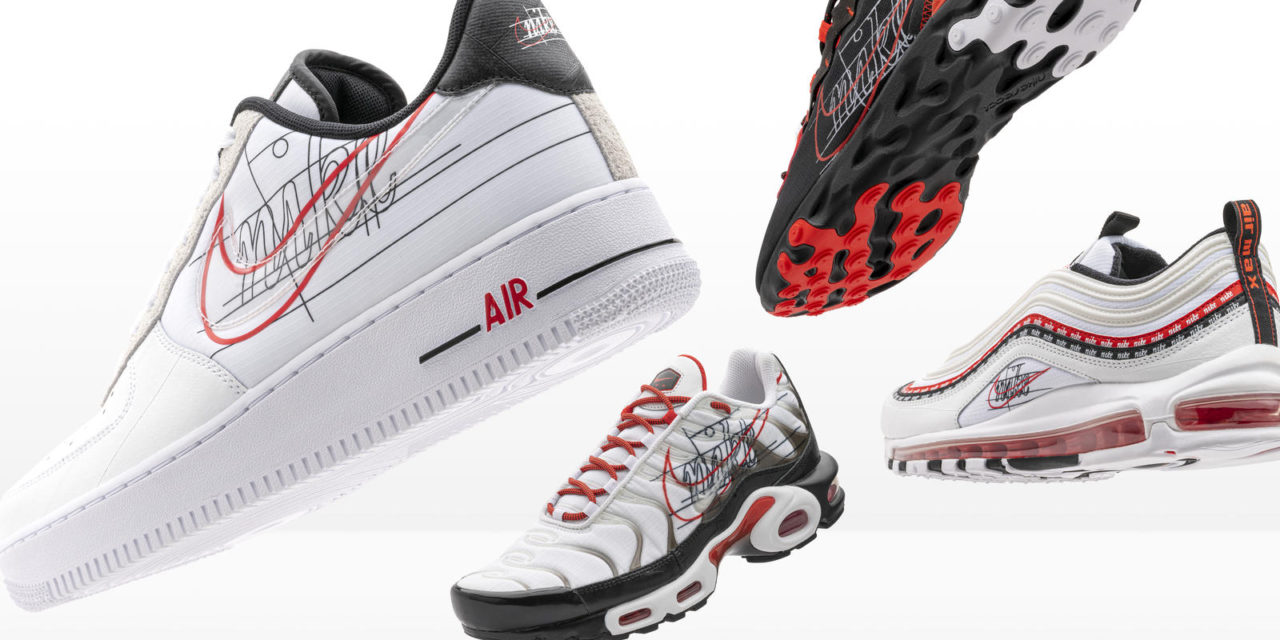 Nike and Foot Locker Inc. Evolution of Swoosh Air Force 1, Air Max 97, Air Max Plus and React Element 55