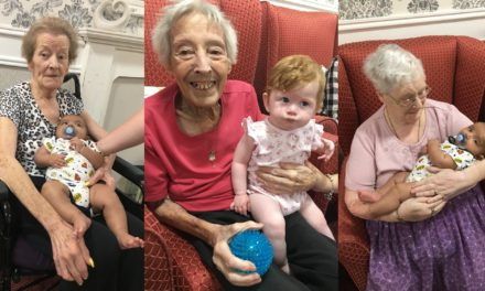 Yoga brings babies and elderly together