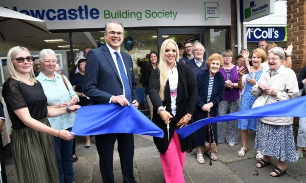CHARITY HEAD CUTS THE RIBBON TO REOPEN UPGRADED NEWCASTLE BUILDING SOCIETY PONTELAND BRANCH