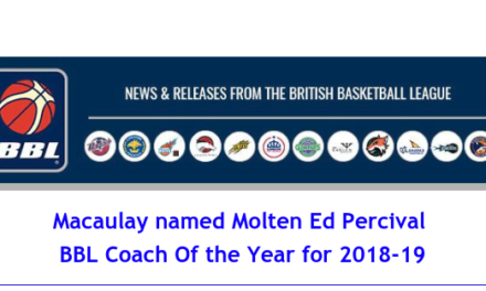 Macaulay named Molten Ed Percival  BBL Coach Of the Year for 2018-19
