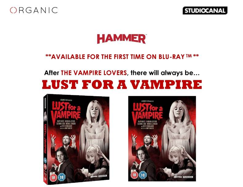 Hammer's LUST FOR A VAMPIRE / On Blu-ray for the First Time / 12 August