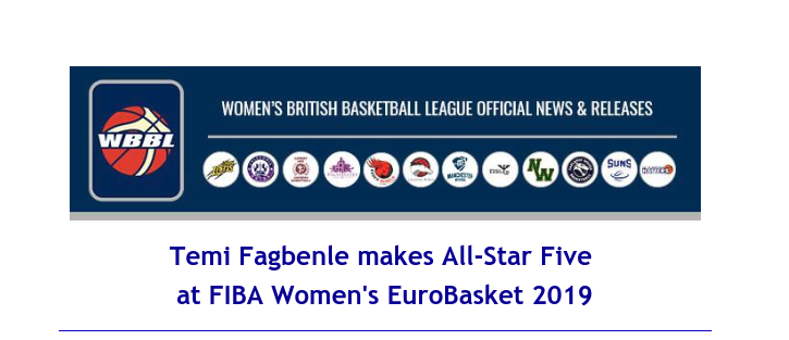 Women's British Basketball League: Temi Fagbenle makes All-Star Five at FIBA Women's EuroBasket 2019
