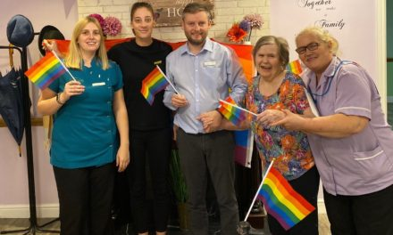 Indoor rainbows at care home's Coming Out Day party