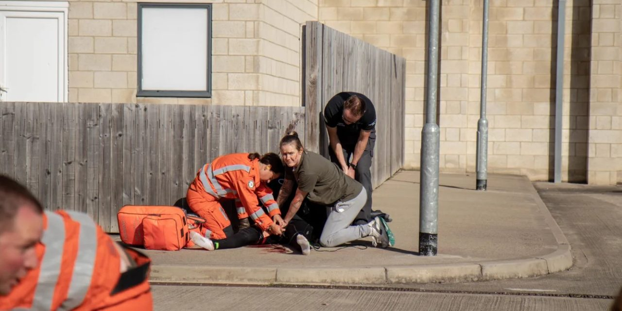 Students join emergency services in simulated terrorism training incident