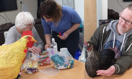 Chickens fly their care home coop to visit charity