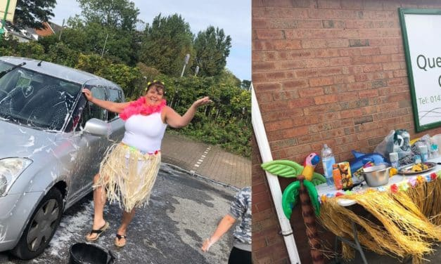 Care home's car wash raises funds for cancer charity