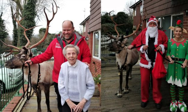Rudolf at care home Christmas party after staff undergo waxing