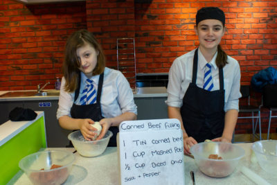 Katie Aiston and Jessica Wood were in charge of preparing corned beef pie