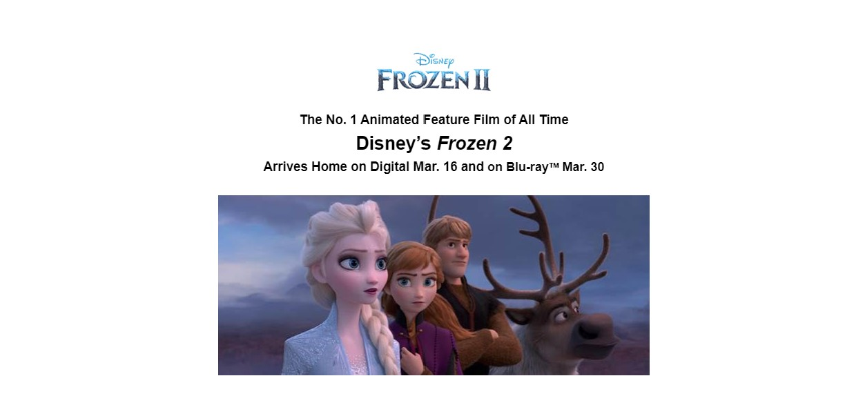 FROZEN 2 – OUT ON BLU-RAY & DVD 30th MARCH 2020