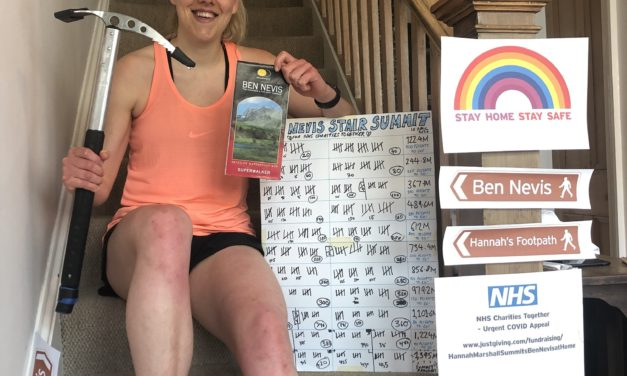 Hannah supports NHS by climbing Ben Nevis – up the stairs at home