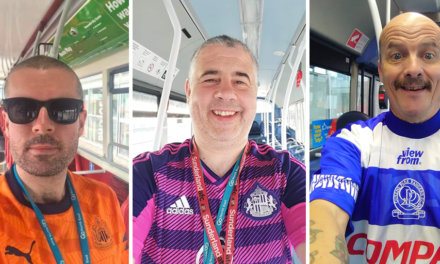 Go North East team members donning football shirts this weekend to mark the end of the season as they approach £10,000 raised for charity