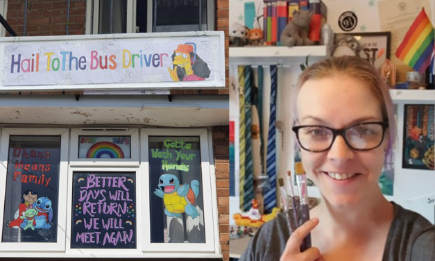 Darlington artist shows her gratitude to bus drivers with window gallery