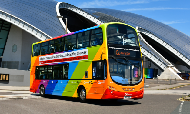 Go North East unveils multi-coloured bus to celebrate the work of its team in bringing communities together