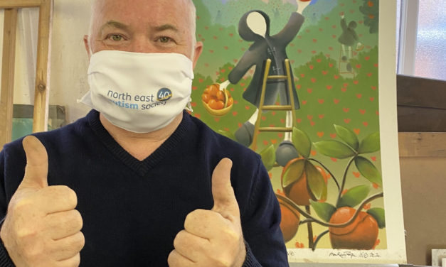 World-famous artist helps autism charity launch anniversary face masks