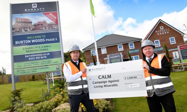 Local housebuilder supports suicide prevention charity, Campaign Against Living Miserably (CALM), with funding initiative