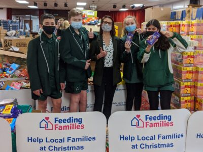 A team of students visited the charity's base in Durham to prepare food hampers: (left to right) Henry Jewkes, Edward Watson, Aimee Jones, Olivia Martin, and Paula Motiejunaite