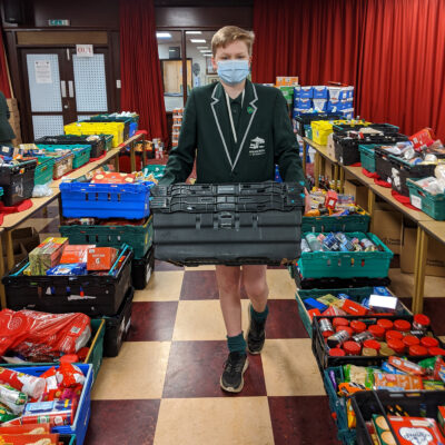 Edward Watson was part of the team who made-up more than 120 food hampers for needy families
