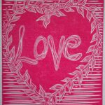 'Love' lino print for Valentine's Day by Printmaker Hannah Turlington