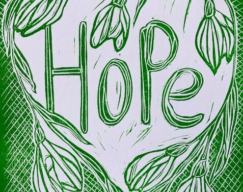 'Hope': Original lino print for Spring and Easter by Hannah Turlington