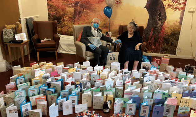COVID SEPARATED COUPLE REUNITED IN MIDDLESBROUGH CARE HOME TO CELEBRATE BLUE SAPPHIRE WEDDING ANNIVERSARY
