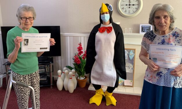 Teesside care home residents try to p-p-pick up a penguin