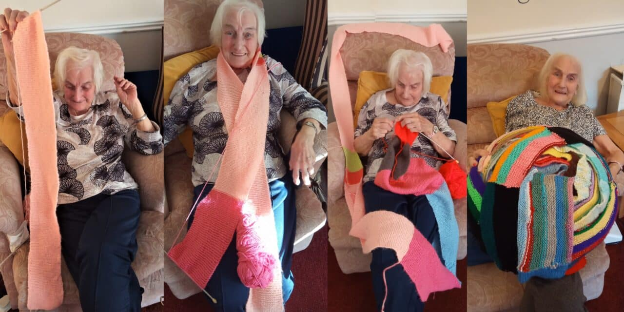 """90-year-old care home resident knits 150ft """"lockdown scarf"""""""