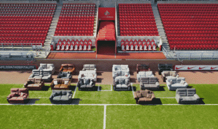 Stadium of Light filled with empty sofas to represent bowel cancer victims