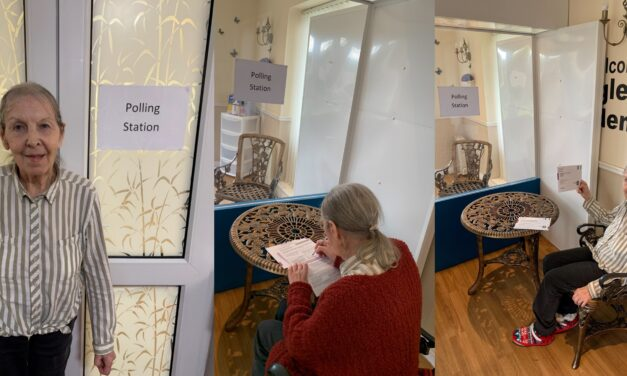 Elderly cast their postal votes at care home polling station