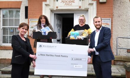 Local housebuilder supports new Food Pantry in New Hartley with £1,000 donation