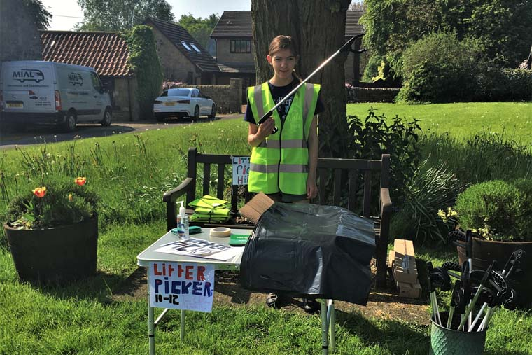 Harriett rallies the litter-picking troops in Middleton Tyas