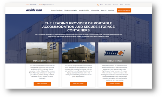 Mobile Mini installs product finder technology in new website launch