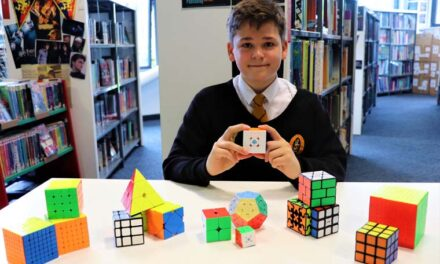 Rupert is a whizz with the Rubik's cube