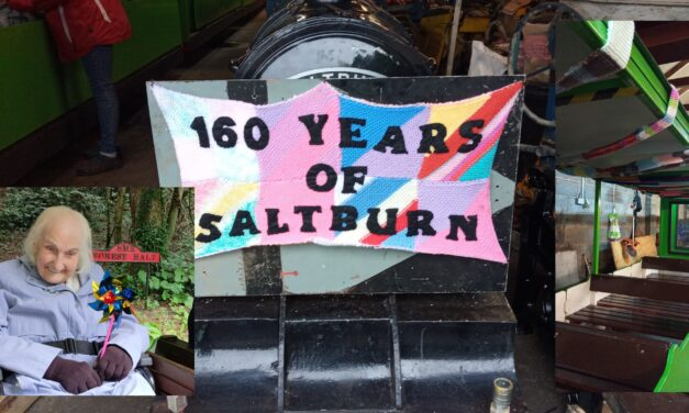 Train wrapped in 300ft scarf knit by elderly Saltburn resident